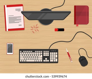 Red stationery on a wooden background. Top view of a desk. There is a computer, keyboard, mouse, smart phone, folder and other objects in the picture. Vector flat illustration