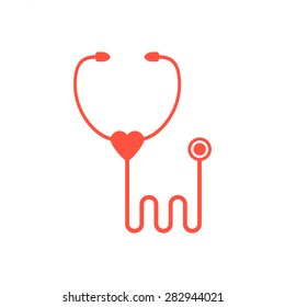 red stethoscope icon isolated on white background. concept of emblem cardiology center, family doctor, medical research, therapeutic procedures. flat style trend modern logo design vector illustration