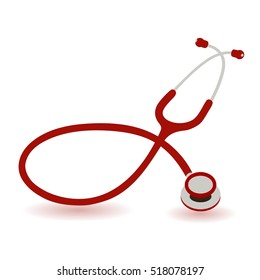 red stethoscope on a white background
