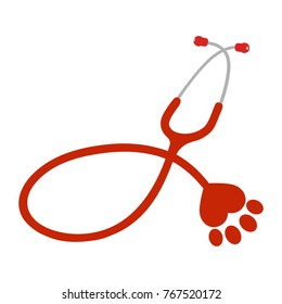 red stethoscope with paw of dog on white background