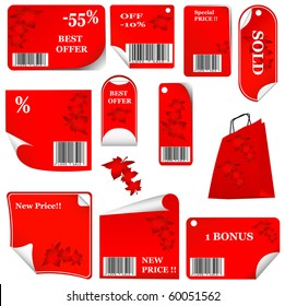 red sticker set with bar codes and leafs. vector illustration