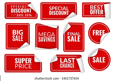 Red stickers curled. Wrapped paper sticker set, price labels sale banners bent edge corner sheets. Advertising badges for consumerism vector templates