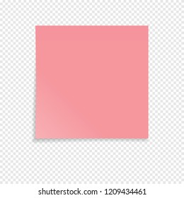 Red sticky note isolated on a transparent background