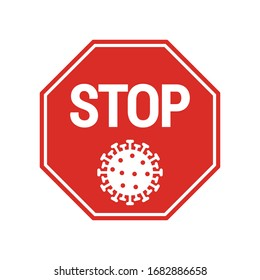 Red stop Coronavirus icon. Stop symbol modern, simple, vector, icon for website design, mobile app, ui. Vector Illustration