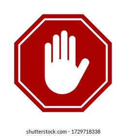 Red Stop Hand Block Octagon Sign or Adblock or Do Not Enter or Forbidden Icon. Vector Image.