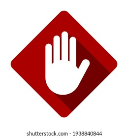 Red Stop Hand Palm Block Diamond-Shaped Sign or Adblock or Do Not Enter Icon with Shadow Effect. Vector Image.