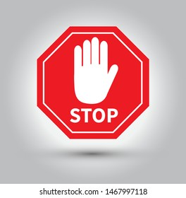 Red stop sign with hand. Vector illustration.