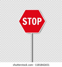 Red Stop Sign Isolated Transparent Background With Gradient Mesh, Vector Illustration