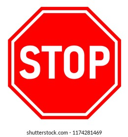 red stop sign on white background. flat style. red stop sign for your web site design, logo, app, UI. stop traffic symbol. traffic regulatory warning stop symbol.