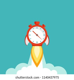 red stopwatch rocket ship with fire and clouds. Fast time stop watch, limited offer, deadline symbol. Vector illustration on blue. Time to work. Countdown shuttle