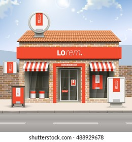 Rotes Ladendesign mit weißer vertikaler Form. Elemente der Außenwerbung. Unternehmensidentität