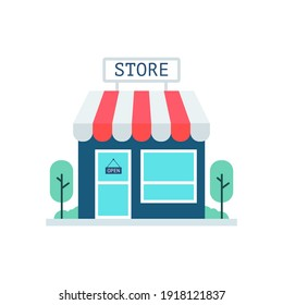 Red store vector. Sign for promotion and websites. A simple store design for mobile application.