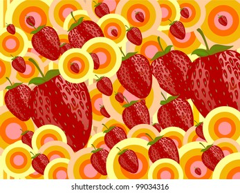 red strawberries with retro circle background