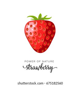 Red strawberry berry flat icon with inscription colorful vector illustration of eco food isolated on white.