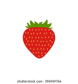 Red Strawberry icon vector. Modern simple flat vegetarian sign. Natural food. Logo illustration.