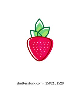 Red Strawberry Logo Design. Creative Strawberry Icon with green leaf. Line art strawberry logo design template.