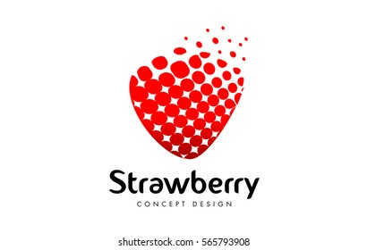 Red Strawberry Logo Design. Creative Strawberry Icon made of dots.
