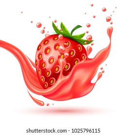 Red strawberry slice juice splash realistic vector. 3d berry fruit liquid, summer tropical vacation drink symbol Fresh vitamin sweet liquid flowing in motion, isolated background illustration