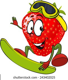 red strawberry surfing - vector illustration