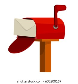 Red Street wall open mail box with post in flat vector style for web or illustration