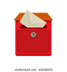 Red Street wall postbox with post in flat vector style for web or illustration