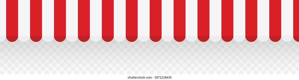 Red striped awnings for shop. Tent sun shade for market on transparent background. Vector illustration