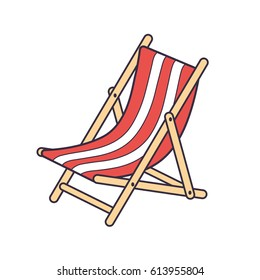 Red striped beach deck chair isolated.
