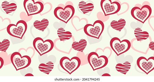 Red striped hearts on a background with pastel hearts. Vector seamless pattern for wallpaper, wrapping paper, packaging, giftwrap, wrapper, surface texture, print. Design template for Valentine`s day