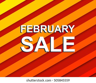 Red striped sale poster with FEBRUARY SALE text. Bright advertising  banner template