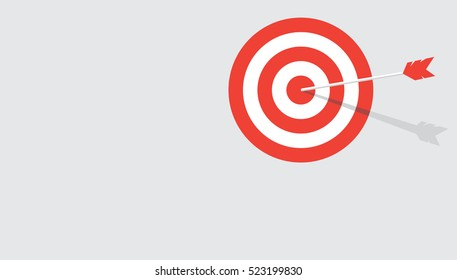 Red stripes target with arrow in a middle. Flat vector background with copy space