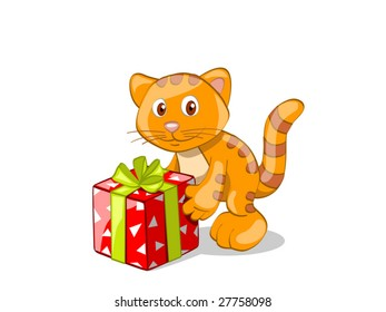 red stripped cat with present (editable layers)