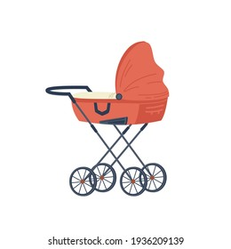 Red stroller for newborn baby isolated flat cartoon icon. Vector pram with handle and wheels, childhood and babyhood concept. Kids transportation trolley, fatherhood and motherhood, stylish transport