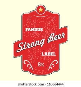 Red strong beer vector label