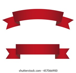 Red stylish banner. Curved and straight version.