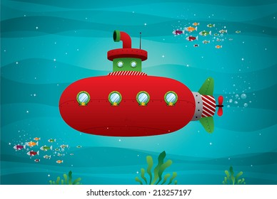 red submarine in the ocean vector