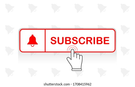 Red subscribe button with mouse pointer and notification bell icon flat in modern colour design concept on isolated white background. EPS 10 vector.