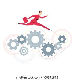 Red suit businessman. Jump. Vector concept illustration.
