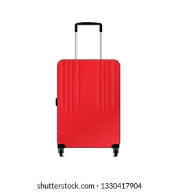 Red suitcase for travelling isolated on a white background