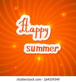 Red summer background. Happy summer! Vector illustration.