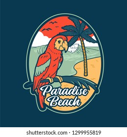Red summer parrot in tropical jungle near paradise beach with sea ocean big wave and palms. Fashion vintage holiday print illustration sticker patch design t shirt clothes poster. Surfing sun place.
