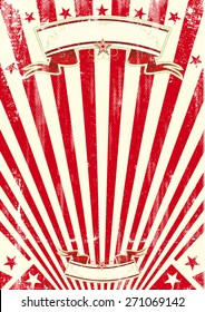 red sunbeams grungy poster. A vintage and retro background for your entertainment