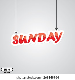 Red Sunday Sign Hanging On Gray Background - EPS.10 Vector