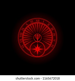 Red sundial silhouette isolated on black background