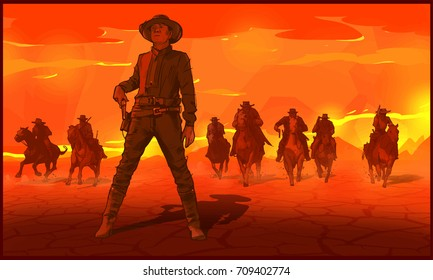 Red sunset desert. Thugs western cowboys on horses. Gangs, Bandits, Gangsters chase western desert background vector illustration.