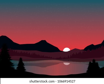 red sunset glow over mpuntains and lake vector nature illustration, pine forest and hills landscape