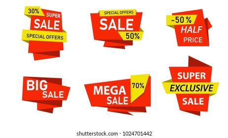 Red Super sale banners,tags,labels,stickers. Special offer banner  and discount promotion. Vector sale tag flat design.Vector eps10 illustration.