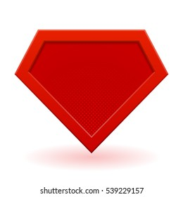 Red superhero logo template. Halftone dots, shadows. Vector, isolated, eps 10.