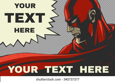 Red superhero. Speech bubble. Pop-art comic background