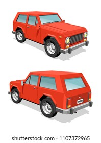 Red SUV car front and rear view - 3d realistic vector illustration