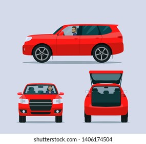 Red SUV car isolated. Car with driver man side view, back view and front view. Vector flat style illustration